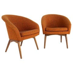 Milo Baughman for Thayer Coggin MCM Orange Upholstered Lounge Chairs, a Pair