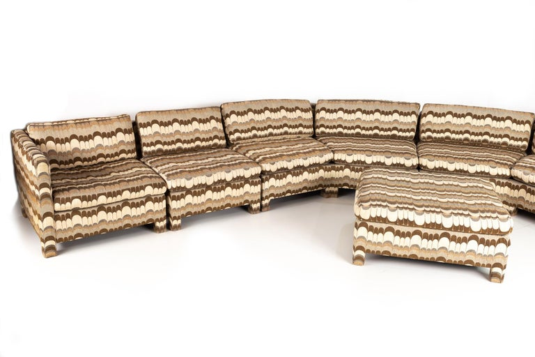 Milo Baughman for Thayer Coggin Mid Century sectional pit sofa with Jack Lenor Larsen fabric Overall dimensions are 159 wide x 32.5 deep x 28.5 high, with a seat height of 16.5 inches  All pieces of furniture can be had in what we call restored