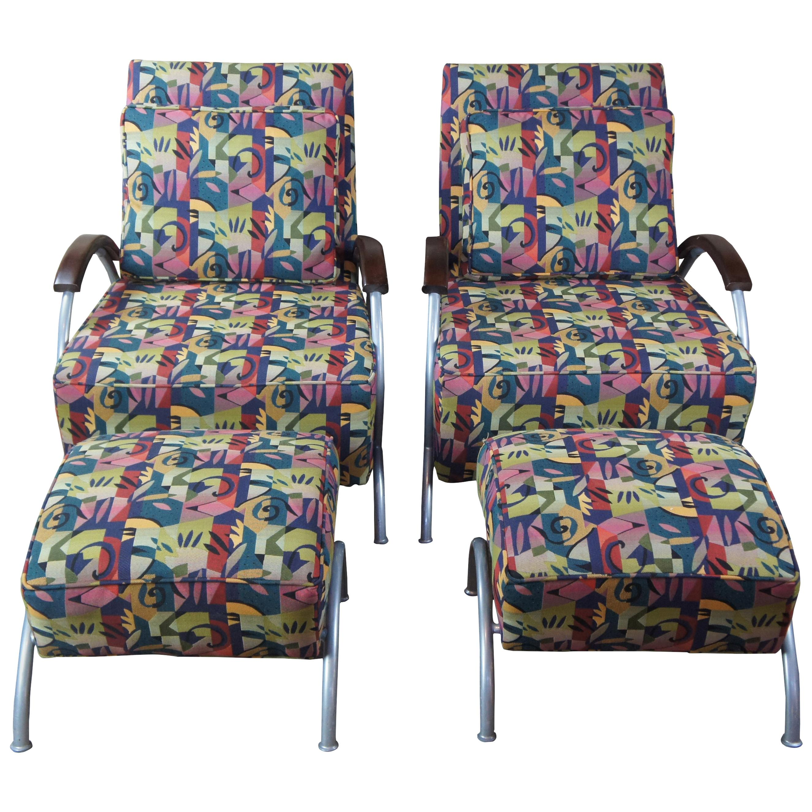 Milo Baughman for Thayer Coggin Mid-Century Modern Lounge Chairs Ottomans