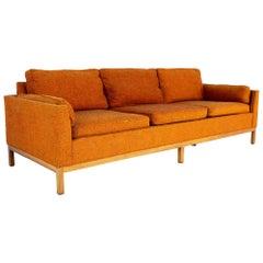 Milo Baughman for Thayer Coggin Mid Century Orange Tweed Sofa