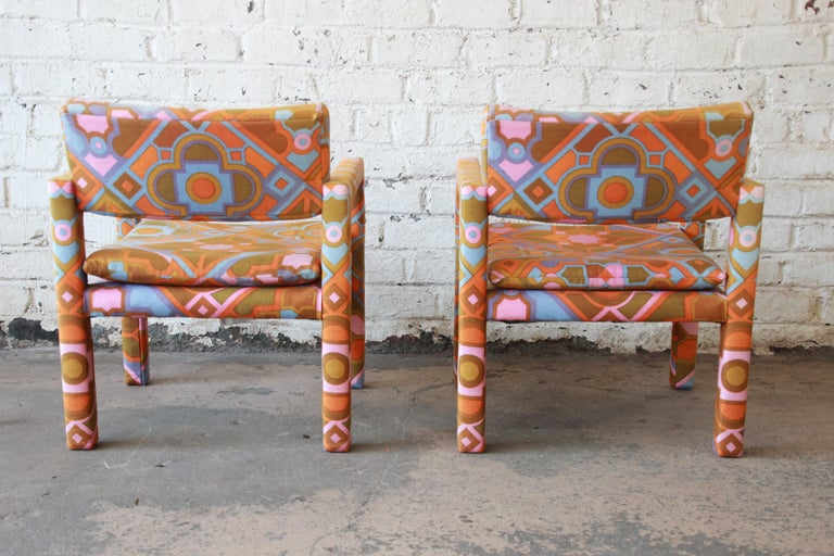 Milo Baughman for Thayer Coggin Parsons Club Chairs in Larsen Fabric For Sale 7
