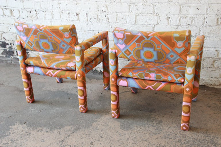 Milo Baughman for Thayer Coggin Parsons Club Chairs in Larsen Fabric For Sale 8
