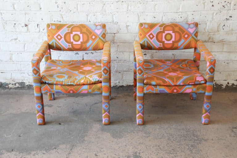 Mid-Century Modern Milo Baughman for Thayer Coggin Parsons Club Chairs in Larsen Fabric For Sale