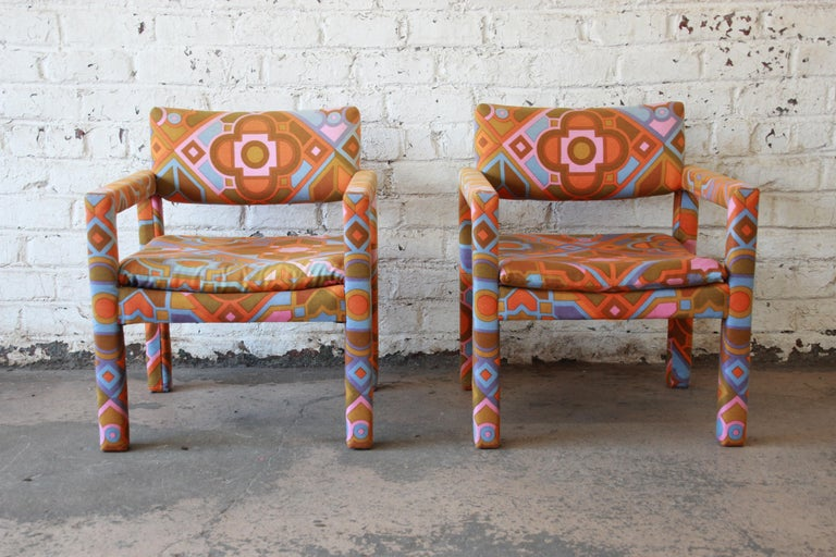 American Milo Baughman for Thayer Coggin Parsons Club Chairs in Larsen Fabric For Sale