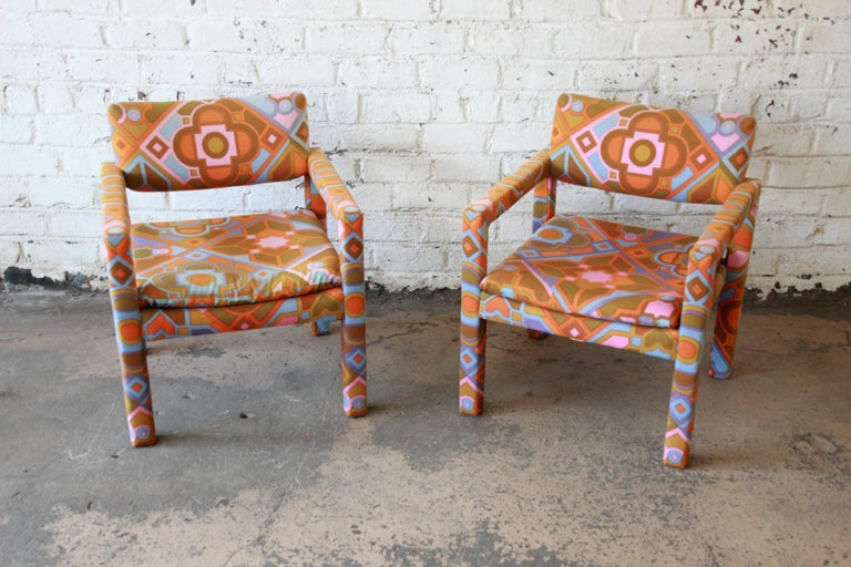 Milo Baughman for Thayer Coggin Parsons Club Chairs in Larsen Fabric In Good Condition For Sale In South Bend, IN