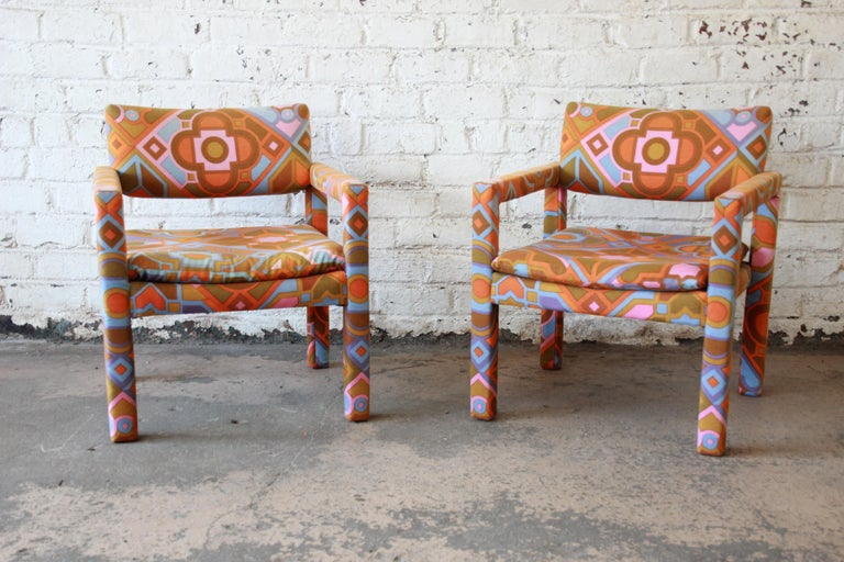 Late 20th Century Milo Baughman for Thayer Coggin Parsons Club Chairs in Larsen Fabric For Sale