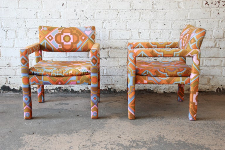 Milo Baughman for Thayer Coggin Parsons Club Chairs in Larsen Fabric For Sale 1