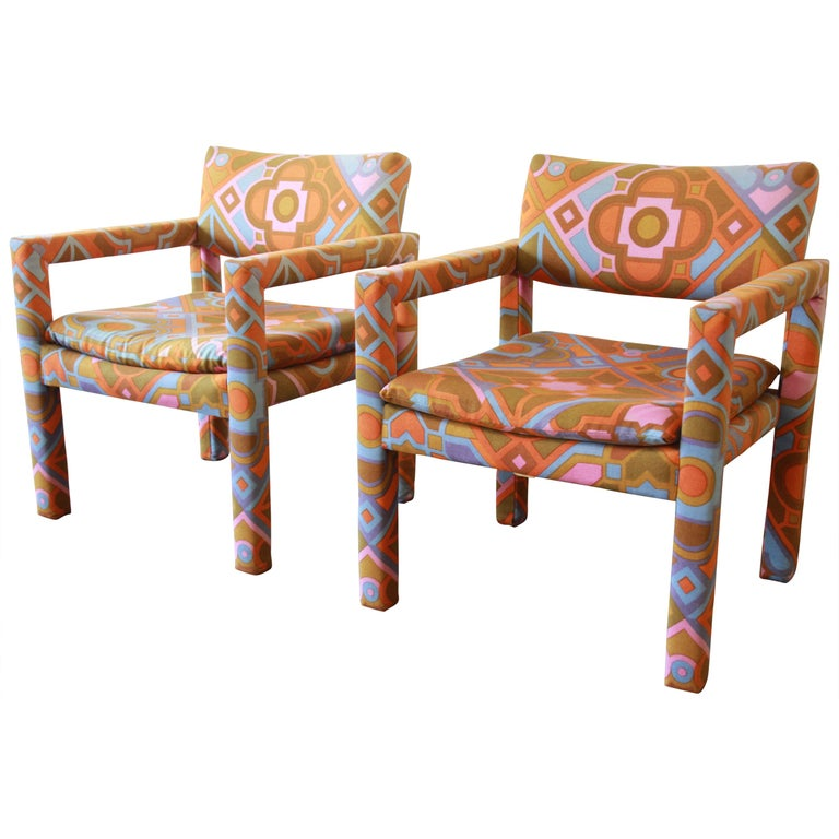 Milo Baughman for Thayer Coggin Parsons Club Chairs in Larsen Fabric For Sale
