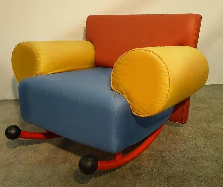 Post-Modern Milo Baughman for Thayer Coggin Prisma Armchair Rocker Lounge 1984, Memphis era For Sale