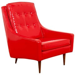 Milo Baughman for Thayer Coggin Red Vinyl Lounge Chair