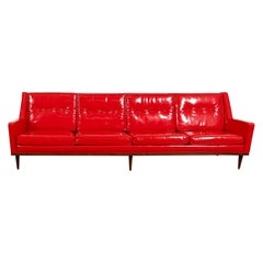 Milo Baughman for Thayer Coggin Red Vinyl Sofa