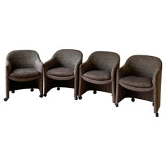 Milo Baughman for Thayer Coggin, Rolling Armchairs / Lounge Chairs, Sold as Pair