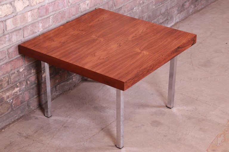Mid-Century Modern Milo Baughman for Thayer Coggin Rosewood and Chrome Side Table, Newly Restored For Sale