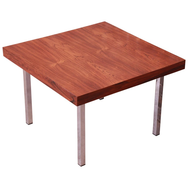 Milo Baughman for Thayer Coggin Rosewood and Chrome Side Table, Newly Restored For Sale
