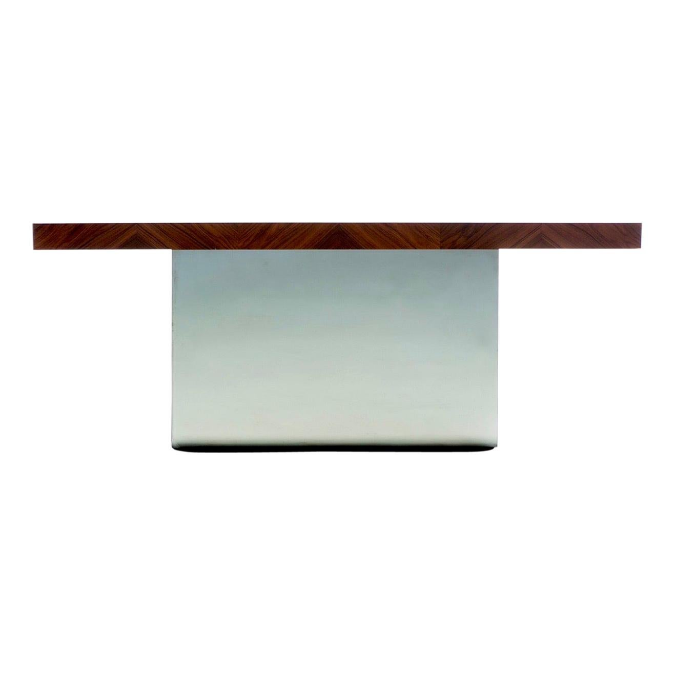 Milo Baughman for Thayer Coggin Rosewood and Mirror Chrome Console, c. 1970s