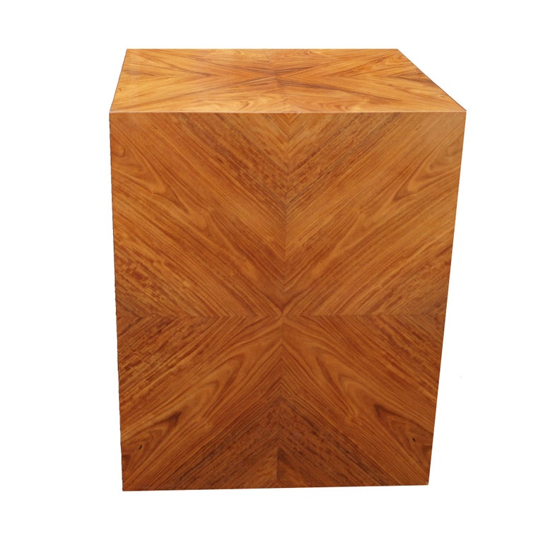 American Milo Baughman for Thayer Coggin Rosewood Bookmatched Side End Table Pedestal For Sale