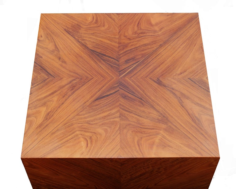 Late 20th Century Milo Baughman for Thayer Coggin Rosewood Bookmatched Side End Table Pedestal For Sale