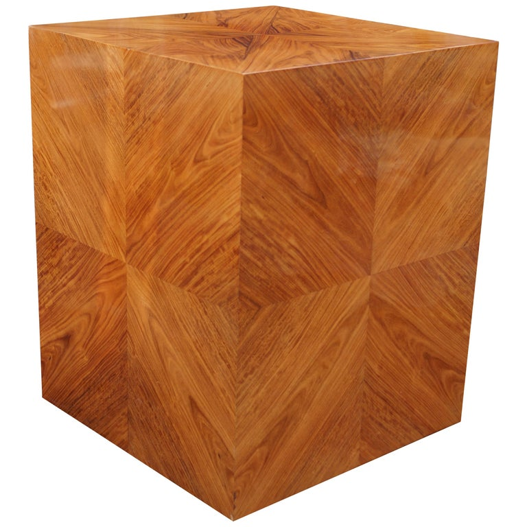 Milo Baughman for Thayer Coggin Rosewood Bookmatched Side End Table Pedestal For Sale
