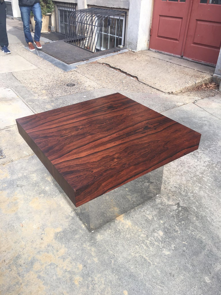 Chrome Milo Baughman for Thayer Coggin Rosewood Table For Sale