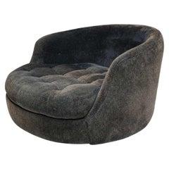 Milo Baughman for Thayer Coggin Satellite Swivel Chair in Black Chenille