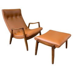 Milo Baughman for Thayer Coggin Scoop Chair and Ottoman in Leather
