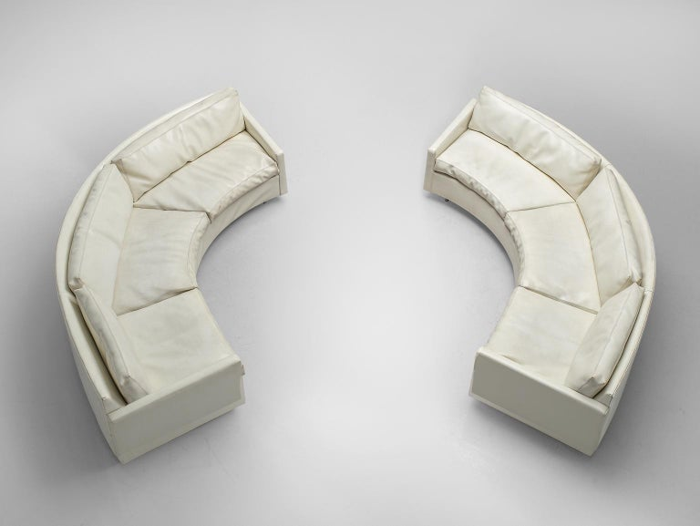Milo Baughman for Thayer Coggin, sofa model 825, white faux leather, USA, 1980s  This semi circular sofa in white faux leather is designed by Milo Baughman for Thayer Coggin. The sofa consists of two separate parts, that can either be used to create