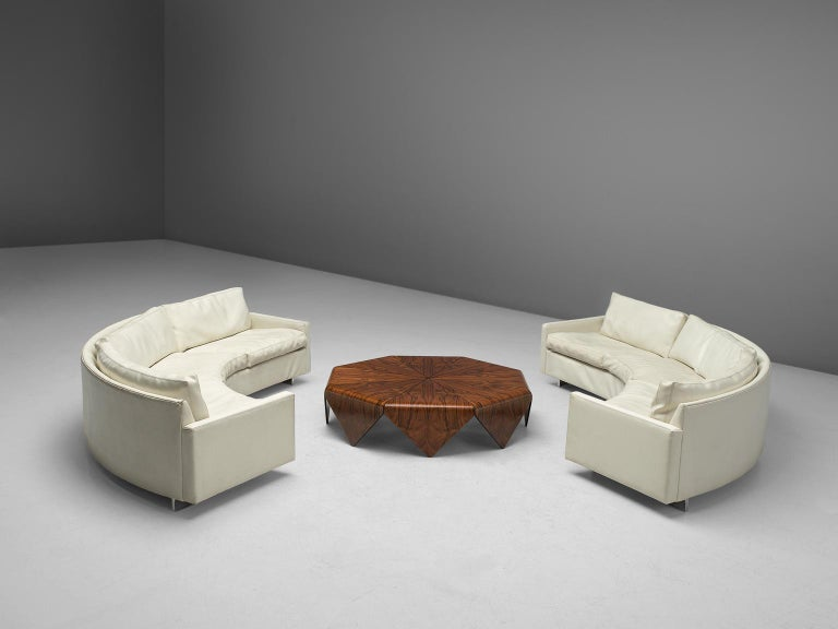 Mid-Century Modern Milo Baughman for Thayer Coggin Sectional White Leatherette Sofa For Sale