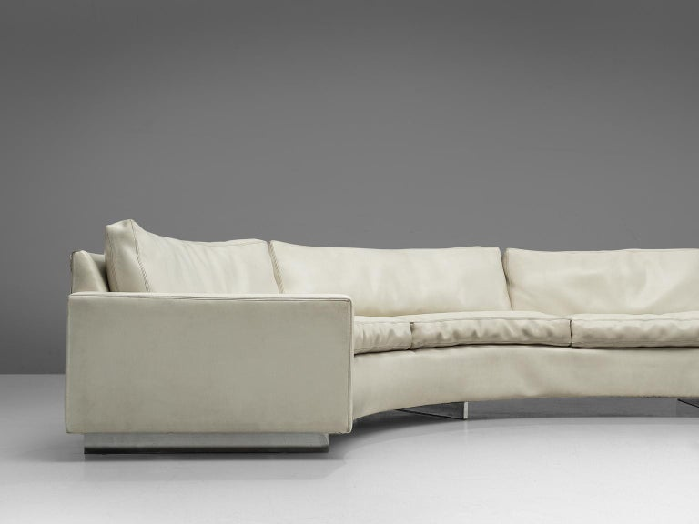 Milo Baughman for Thayer Coggin Sectional White Leatherette Sofa In Good Condition For Sale In Waalwijk, NL