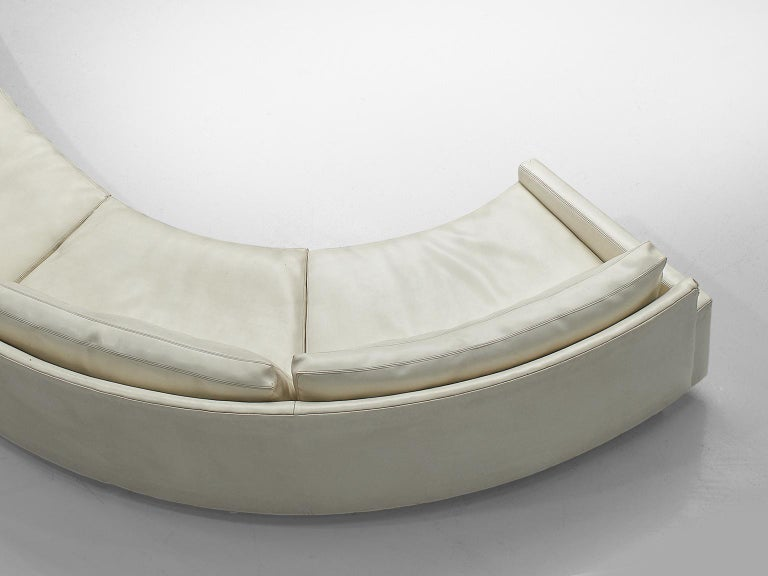 Late 20th Century Milo Baughman for Thayer Coggin Sectional White Leatherette Sofa For Sale
