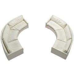 Milo Baughman for Thayer Coggin Sectional White Leatherette Sofa