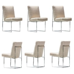 Milo Baughman for Thayer Coggin Set of Six Dining Chairs in Ivory Bouclé
