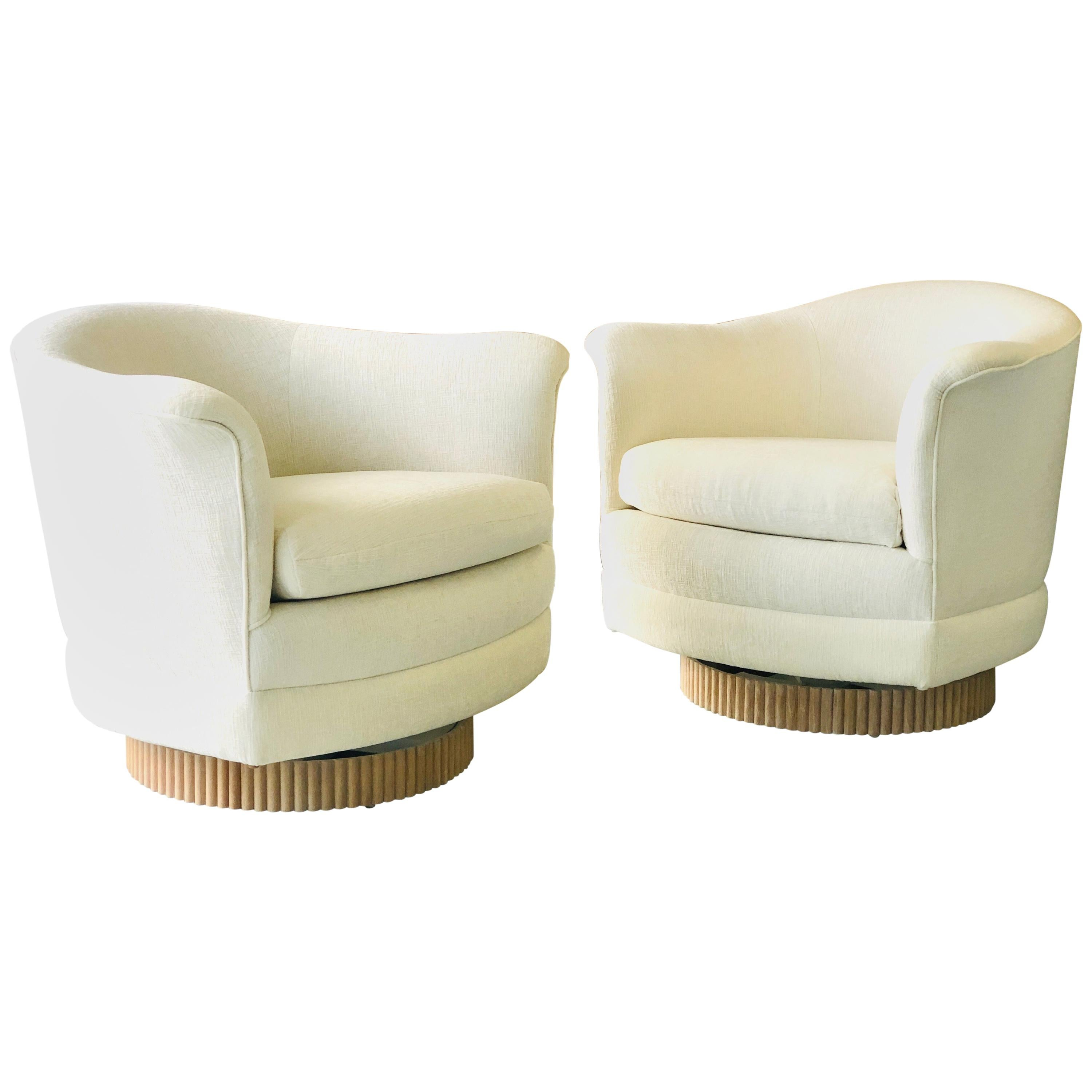 Milo Baughman for Thayer Coggin Swivel and Rocking Lounge Chairs, Oak Bases