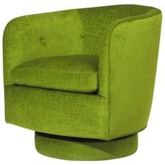 Milo Baughman for Thayer Coggin Swivel and Tilt Lounge Chair in Green Velvet