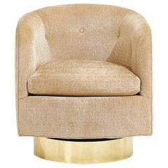 Milo Baughman for Thayer Coggin Swivel Chair Brass Base, circa 1970