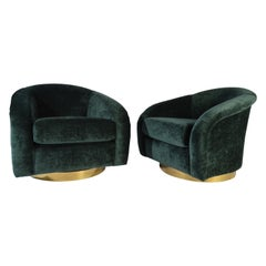 Jay Spectre Swivel Club Chairs with Solid Brass Sheet Bases