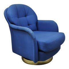 Milo Baughman for Thayer Coggin Swivel Tilt Blue Upholstered Club Lounge Chair