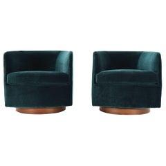 Milo Baughman for Thayer Coggin Tilt & Swivel Lounge Chairs in Deep Blue Velvet