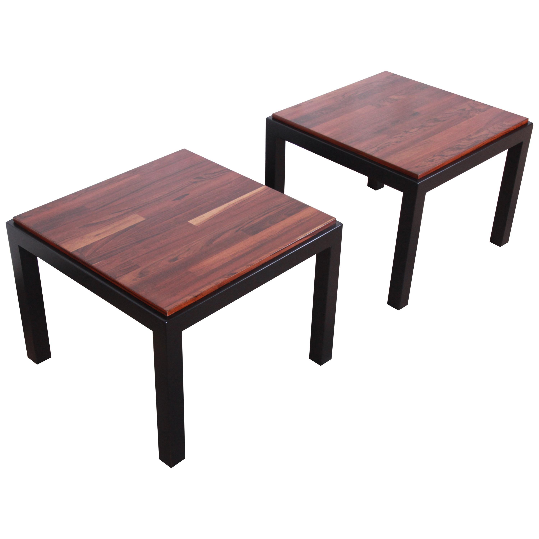 Milo Baughman for Thayer Coggin Walnut and Ebonized Wood Side Tables, Restored