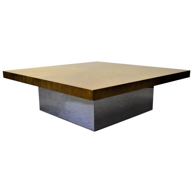 Walnut And Chrome Coffee Table: Milo Baughman For Thayer Coggin Walnut/Chrome Coffee Table