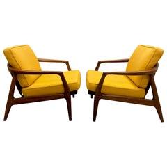 Milo Baughman for Thayer Coggin Walnut Lounge Chairs