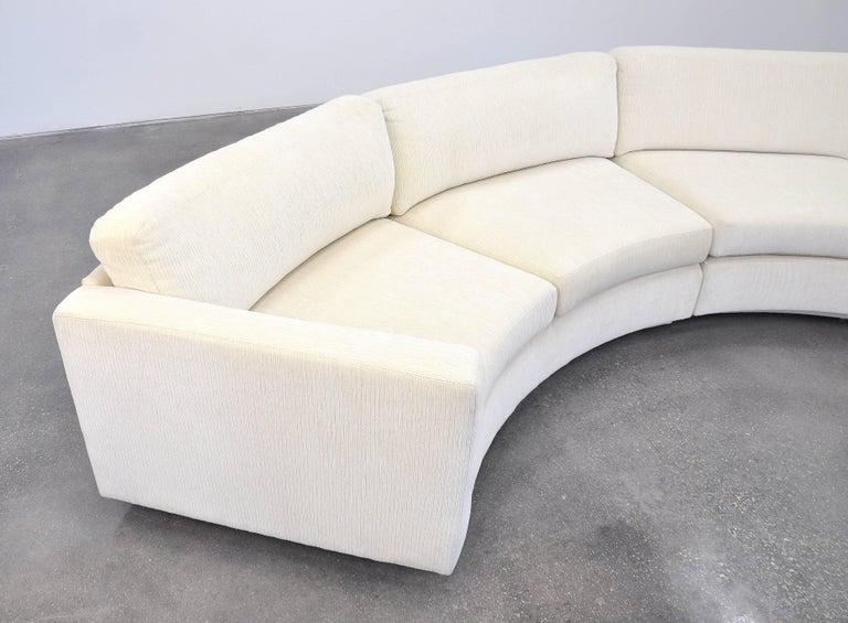 Fabric Milo Baughman For Thayer Coggin White Sectional Circle Sofa