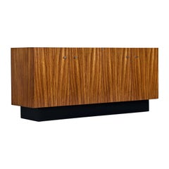 Milo Baughman for Thayer Coggin Zebra Wood Credenza Cabinet with Wall-Mount