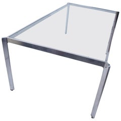 Milo Baughman French Glass Dining Table Angular Base in Polished Aluminum, 1970s