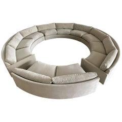 Milo Baughman Full Circular Pit Sofa for Thayer Coggin on Rosewood Base