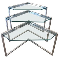 Milo Baughman Style Chrome Nest of Tables