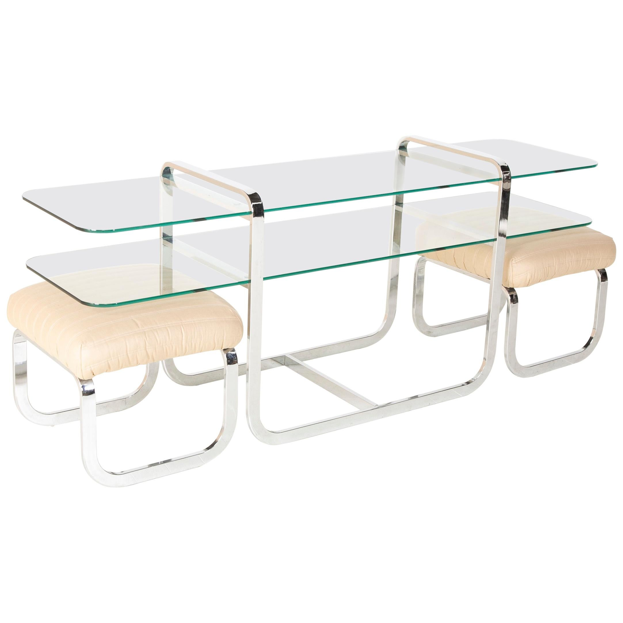 Milo Baughman Glass Console with Nested Stools