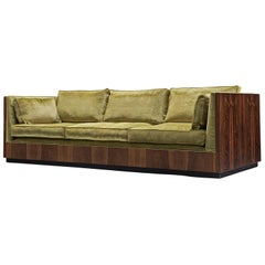 Milo Baughman Green Velvet and Rosewood Sofa