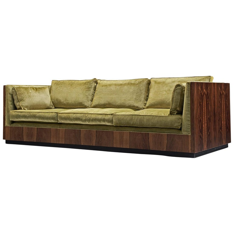 Milo Baughman Green Velvet And Rosewood Sofa For Sale At