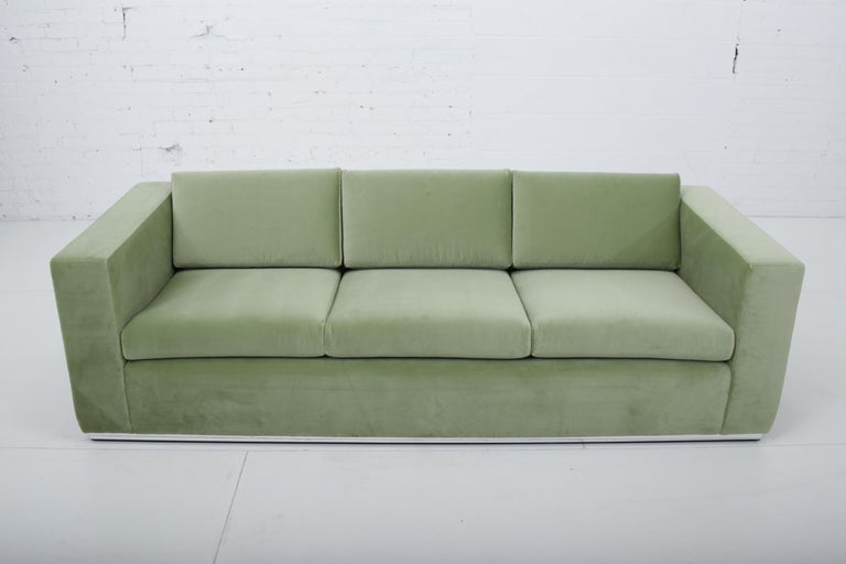 Milo Baughman Sofa on Chrome base Fully restored and reupholstered in green velvet upholstery. Made by Thayer-Coggin, circa 1970.
