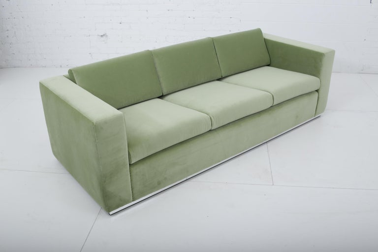 Mid-Century Modern Milo Baughman Green Velvet Sofa on Chrome Base, 1970 For Sale